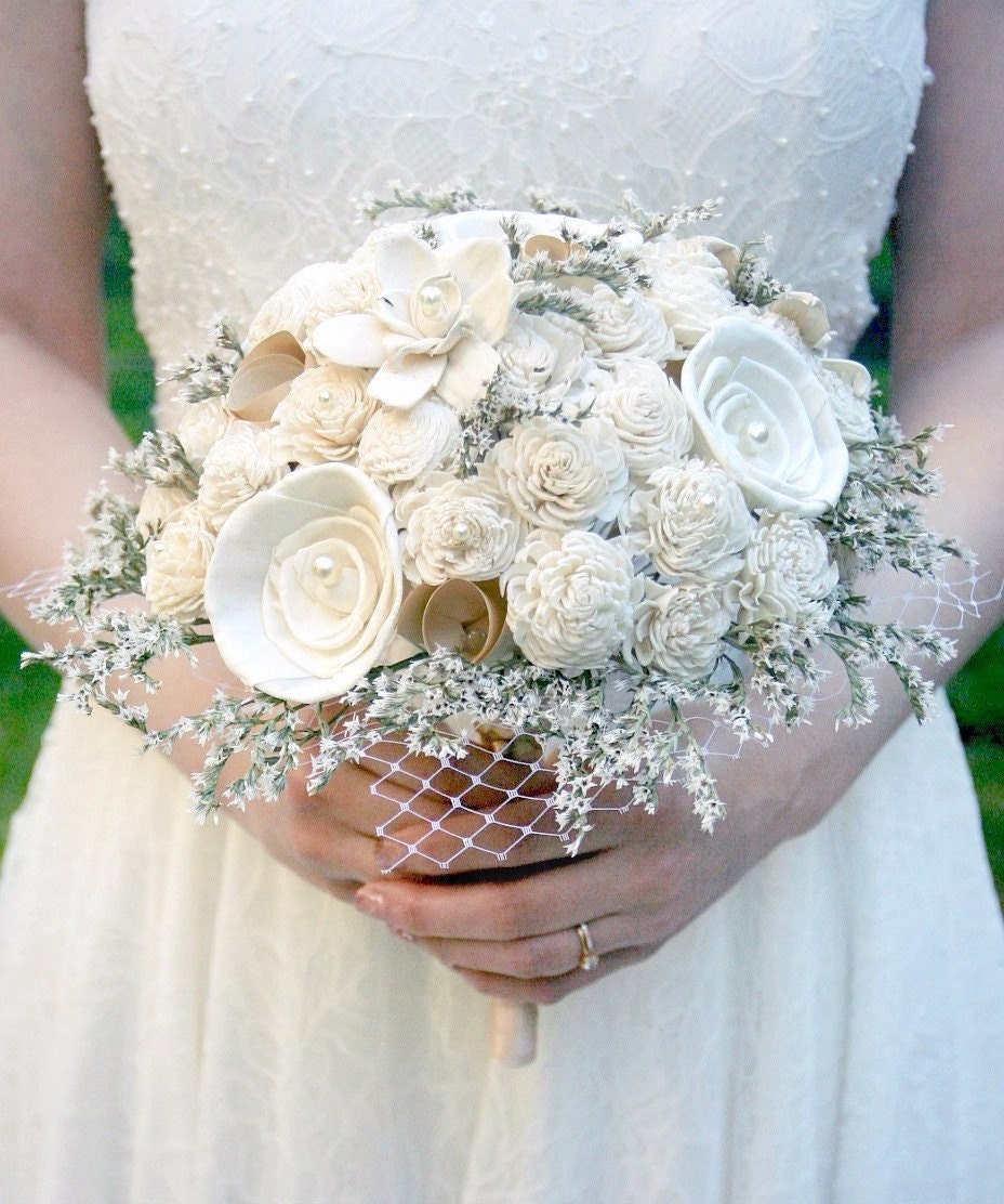 Wedding Bouquets Not Flowers: Wedding Bouquet Vintage Rustic // Dried Flower Bouquet