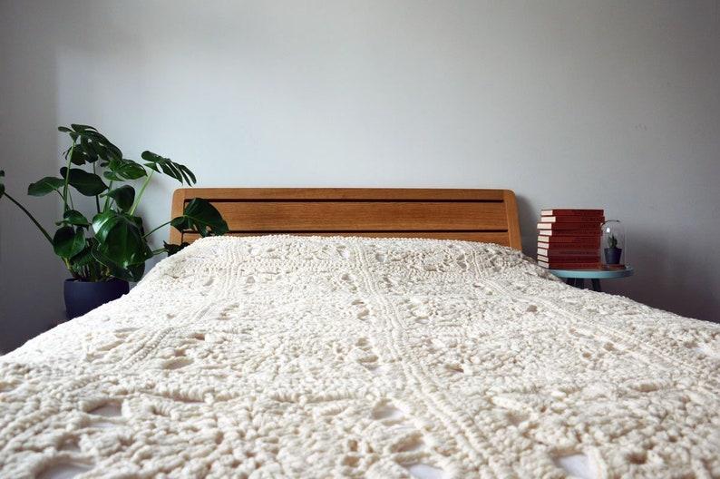 d66b5d372888 White Granny Square Blanket Crochet Blanket in Natural White