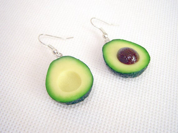 Avocado earrings Perfect gift or cute accessory Avo fruit vegetable cartoon drawing hand made plastic jewellery earrings Fast shipping.