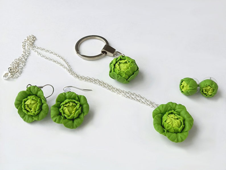 Polymer clay food Gift for her Real look Cabbage Necklace Vegetable Necklace