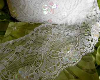 White Floral Sequined Trim