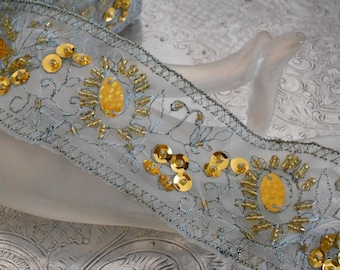 Teal and Gold Sequined Trim