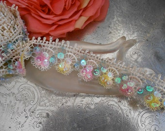 Pink and Yellow Sequined Trim