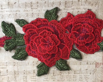 Red Threaded Rose Appliques