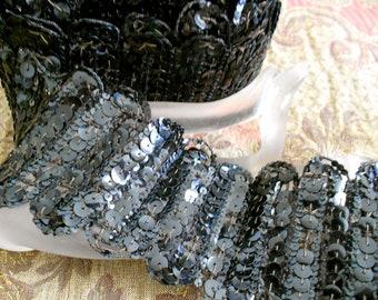 Victorian Black Sequined Trim