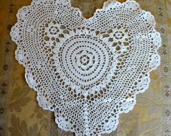 Cotone bianco uncinetto cuore Appliques