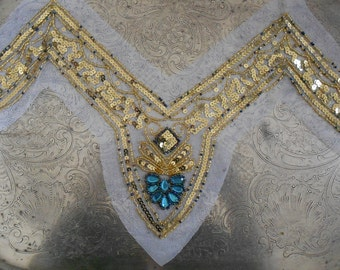 Gold Sequined Blue Stone Appliques
