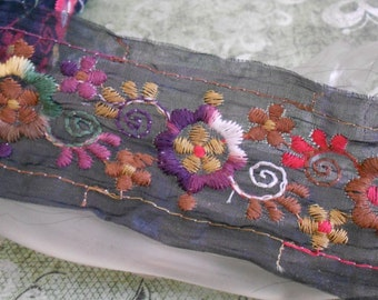 Multi Colored Floral Stitched Trim