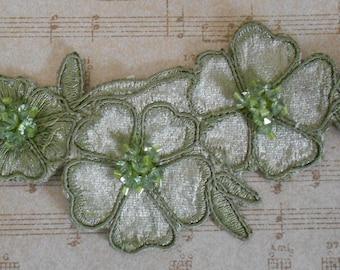 Soft Green Beaded Flowers