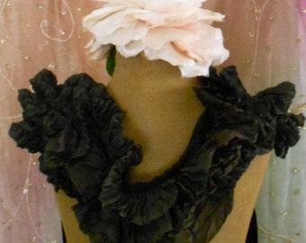Victorian Black Pleated Silk Sash