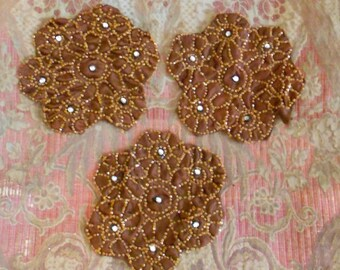 1920's Chestnut Brown Beaded Appliques
