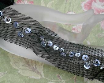 Black Silver Sequined Trim