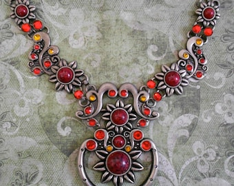 Red Stone Metal Applique