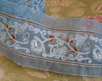 Pale Blue Floral Sequined Trim