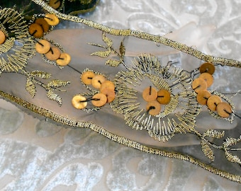 Black and Gold Floral Sequined Trim