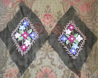 Multi Colored Floral Stitched Beaded Appliques