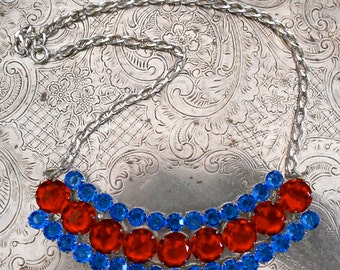 Blue and Red Stone Metal Appliques