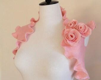 Bridal Bolero Bridal Shrug Soft Pink Wedding Bridesmaid Bolero Jacket Shawl Wrap Wool Felted with Rose Flowers
