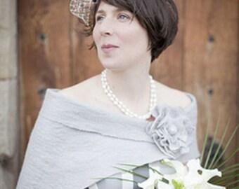 Wedding Shawl Bridal Shawl Bridal Wrap Silver Grey Bridal Stole Shrug Scarf Wool with brooch