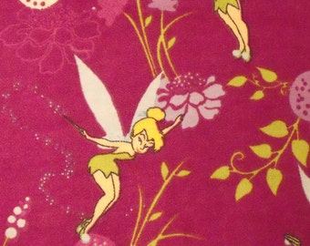 """Beautiful Disney's Flannel Tinker Bell with Purple background Fabric 36""""  x 44"""""""