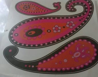 Wall Stickers Set of 6 Art Paisley Hot Pink Orange Black Teens Decor