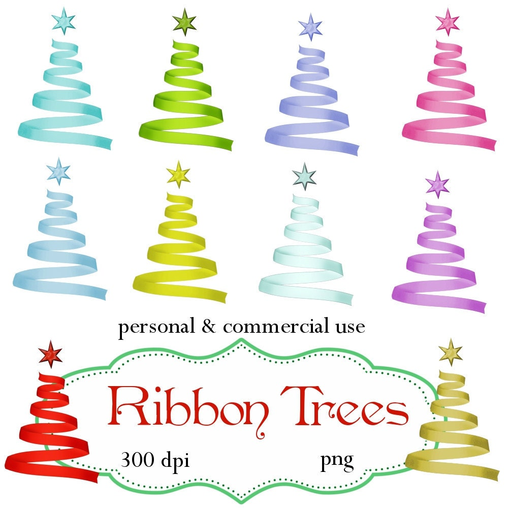Clip Art: Christmas Ribbon Trees Png Digital Files no 088 | Etsy