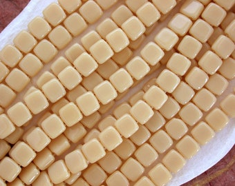 25pcs CzechMates Tile Beads 6mm Square Two Hole Opaque Yellow Jet 26807
