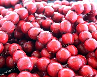 27 Feet Strung Wood Beads Macrame/' Beads Craft Beads  NAT-148 580+ Destash Beads ~ 14mm Red Wood Beads