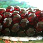 8mm Firepolished, Garnet, Czech Glass Fire Polished Beads, Czech Glass Beads, Faceted Glass Beads  CZ-384