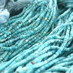 Turquoise Heishi Beads, 1 to 2mm Very Small to Tiny Semi Precious Gemstone Beads, Undyed Natural Turquoise Beads SEM-047