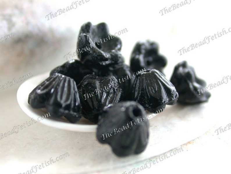 Antique 1920's Czecho-Slovakia Black Glass Flower Beads image 0