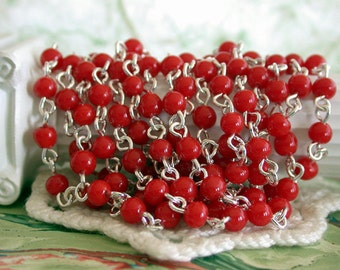 Rosary Chain, Beaded Chain, Red Beads Silver Chain, Chain, Bead Chain, Jewelry Chain, Glass Bead Chain CHN-106