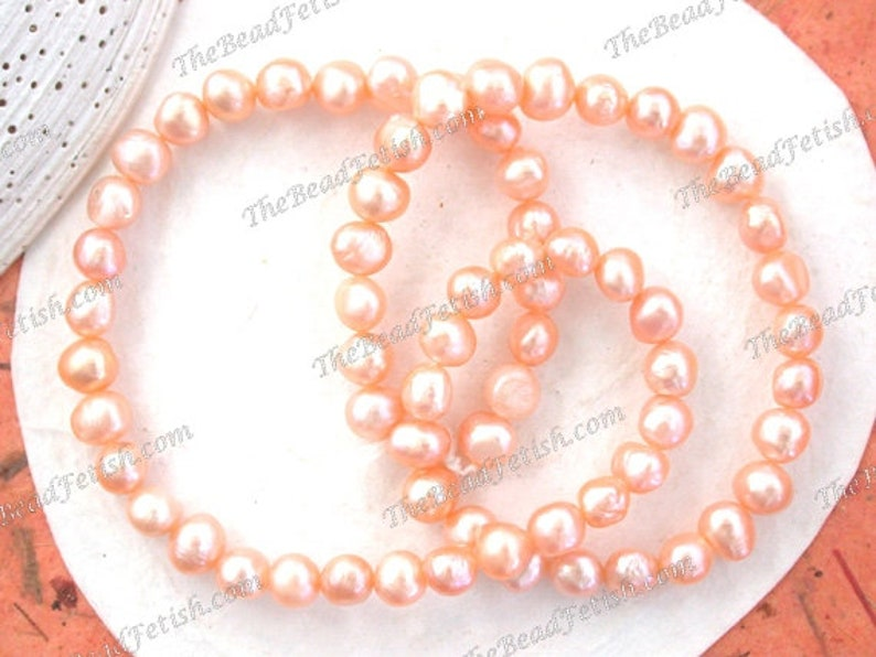 Sale Beads Destash Beads Apricot Peach Luster Fresh Water image 0
