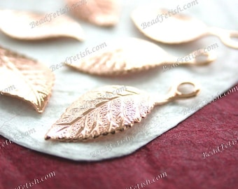 Rose Gold Leaves, Rose Gold Leaf Stampings, Vintage Style Rose Gold Leaves, Bridal Wedding Hair Craft Supplies, Made in America USA STA-624