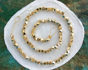3.5 to 4mm, Bright Gold Spacer Beads, Metal Spacer Beads, Rustic Diamond Cut Beads, Large Hole Beads, Macrame' Beads  MB-061-100