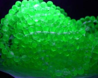 UV Beads, Black Light Beads, 6 x 4mm Czech Glass Teardrop Beads, Uranium Glass, Czech Glass Fringe Beads, Party Beads  CZ-600
