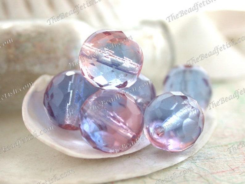 Vintage West German Givre' Light Pink and Blue Glass image 0