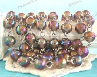 6mm Rosary Chain, Black Diamond AB Beaded Chain, Linked Bead Chain, Gray Iris Glass Bead with Nickle Silver Chain CHN-279