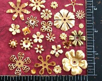 Raw Brass Flowers, Metal Flowers, Vintage Style Supplies, Collage, Craft Supplies, Jewelry Supplies, Made in USA, Wedding Supplies, STA-002
