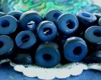 Buri Nut Beads, Buri Seed Beads, Natural Buri Nut Beads, Buri Palm Nut Beads, Blue Buri Nut Beads  NAT-182