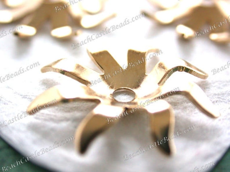 Bright Gold Plated Brass Flower Stampings Vintage Style image 0