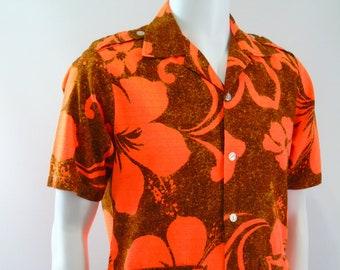 3182b929 Tohki Hawaii Mens Hawaiian Shirt Burnt Orange Barkcloth Mod Epaulets  Vintage 1960s
