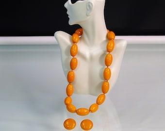 Marvella MCM Butterscotch Bakelite Jewelry Choker Necklace Earrings Set  Vintage 1950s Designer Costume Jewelry dc2e0e25836