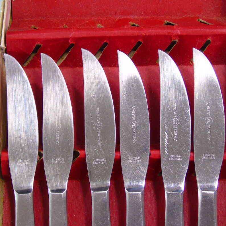 Mid Century Modern Knives Amboss Austria Rostfrei Stainless Vintage Set of 6 MCM