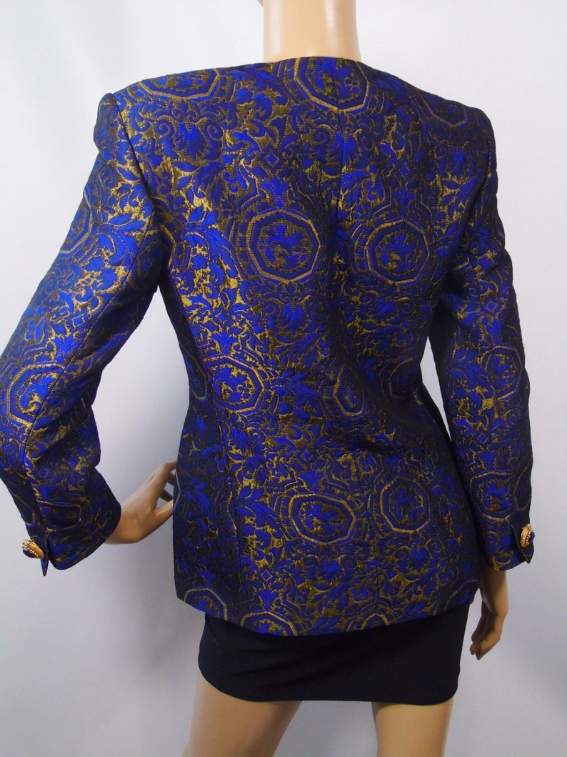 Vintage Genny Mod Jacket Italian Designer Fashion Label  Royal Blue Bronzed Gold Brocade Haute Couture