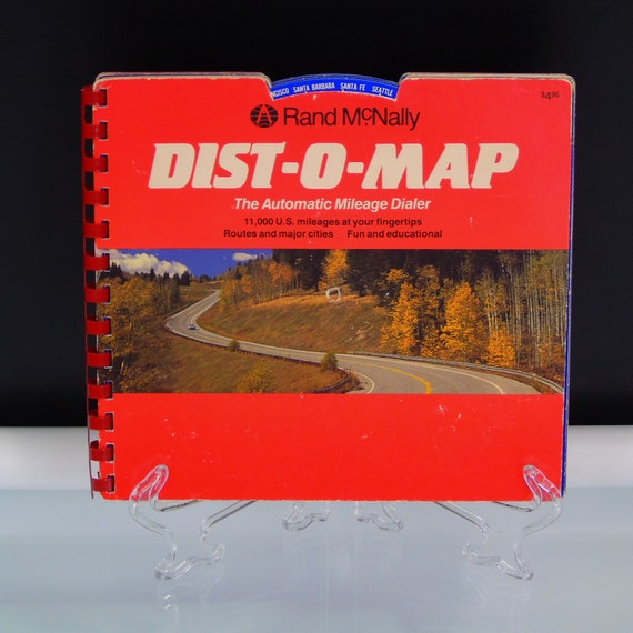 Items similar to Rand McNally Dist-O-Map Book Automatic Route Mileage Dialer US Atlas 4 Wheel Vintage Calculator on Etsy