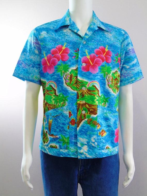 Vintage Ui Maikai Hawaiian Aloha Shirt Luau Party