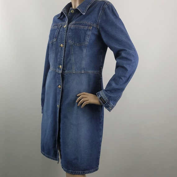 Blue Denim Dress XOXO Jeans Modest Button Front Vi