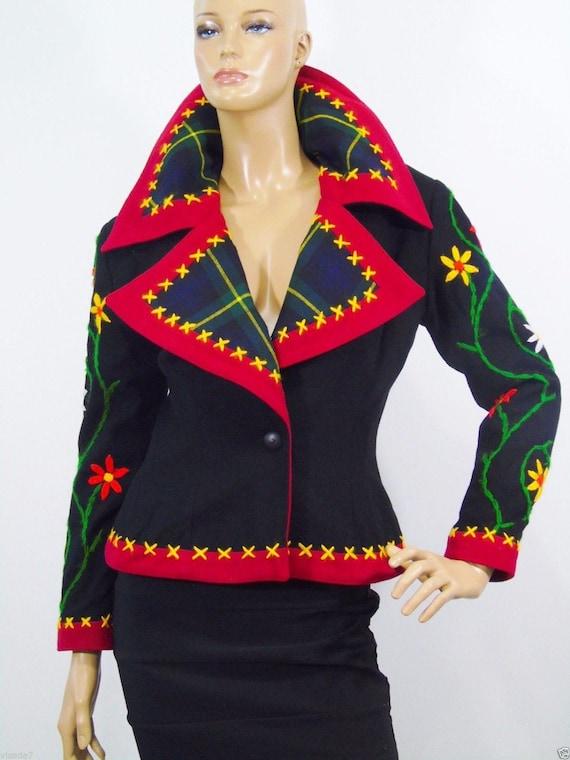 Vintage IDOL Rockabilly Jacket , Wool Blazer, Embr