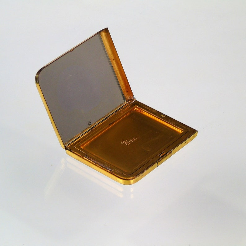 Vintage Powder Makeup Elgin American Compact Art Deco Gold Tone Mirror Puff